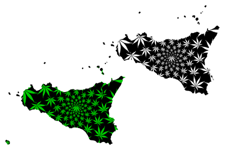 Sicily - map is designed cannabis leaf green and black, Italian Republic - Sicily map made of marijuana (marihuana,THC) foliage,