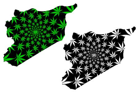 Syria - map is designed cannabis leaf green and black, Syrian Arab Republic map made of marijuana (marihuana,THC) foliage, Illustration