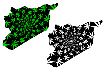 Syria - map is designed cannabis leaf green and black, Syrian Arab Republic map made of marijuana (marihuana,THC) foliage, Illustration
