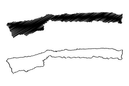 Vargas State (Bolivarian Republic of Venezuela, States, Federal Dependencies and Capital District) map vector illustration, scribble sketch Vargas map 写真素材 - 123436755
