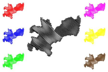 Caldas Department (Colombia, Republic of Colombia, Departments of Colombia) map vector illustration, scribble sketch Department of Caldas map Foto de archivo - 123317478