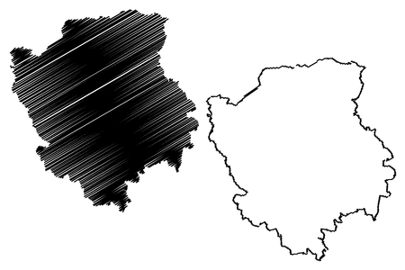 Volyn Oblast (Administrative divisions of Ukraine, Oblasts of Ukraine) map vector illustration, scribble sketch Volyn (Volyn' or Wołyń) map Vettoriali