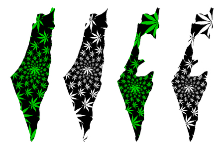 Israel - map is designed cannabis leaf green and black, State of Israel map made of marijuana (marihuana,THC) foliage, Stock Illustratie