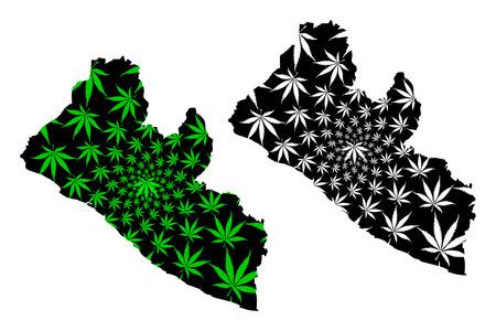 Liberia: el mapa está diseñado con hojas de cannabis verde y negro, mapa de la República de Liberia hecho de follaje de marihuana (marihuana, THC),