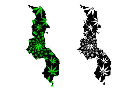 Malawi - map is designed cannabis leaf green and black, Republic of the Malawi map made of marijuana (marihuana,THC) foliage, Illustration