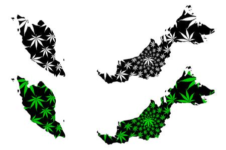 Malaysia - map is designed cannabis leaf green and black, Malaysia map made of marijuana (marihuana,THC) foliage, Illustration