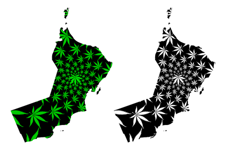Oman - map is designed cannabis leaf green and black, Sultanate of Oman map made of marijuana (marihuana,THC) foliage, 일러스트