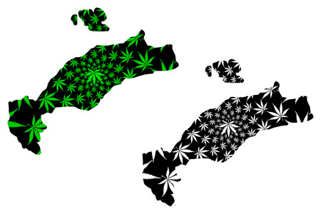 Kos - map is designed cannabis leaf green and black, Cos island map made of marijuana (marihuana,THC) foliage,