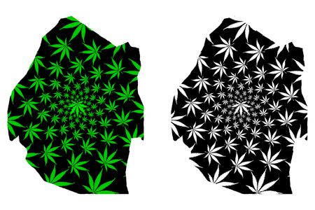 Swaziland - map is designed cannabis leaf green and black, Kingdom of Eswatini map made of marijuana (marihuana,THC) foliage,