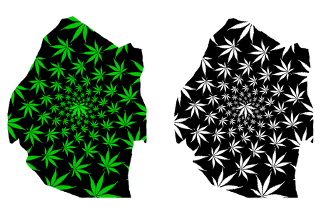 Swaziland - map is designed cannabis leaf green and black, Kingdom of Eswatini map made of marijuana (marihuana,THC) foliage,