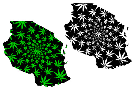 Tanzania - map is designed cannabis leaf green and black, United Republic of Tanzania map made of marijuana (marihuana,THC) foliage,