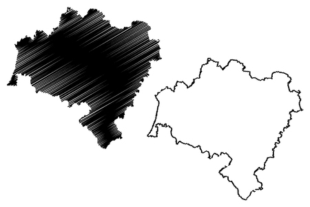 Lower Silesian Voivodeship (Administrative divisions of Poland, Voivodeships of Poland) map vector illustration, scribble sketch Lower Silesian Province map