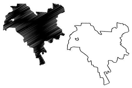 Kiev city (Administrative divisions of Ukraine, City with special status) map vector illustration, scribble sketch Kyiv map