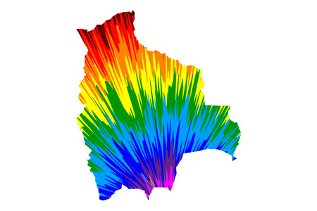 Bolivia - map is designed rainbow abstract colorful pattern, Plurinational State of Bolivia map made of color explosion,