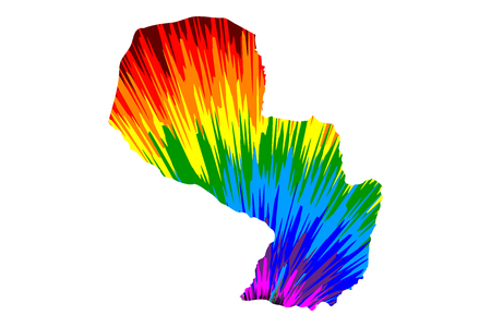Paraguay - map is designed rainbow abstract colorful pattern, Republic of Paraguay map made of color explosion,