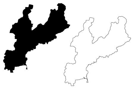 South Hamgyong Province (Democratic Peoples Republic of Korea, DPRK, DPR Korea, Provinces of North Korea) map vector illustration, scribble sketch Hamgyongnamdo map