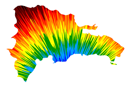 Dominican Republic - map is designed rainbow abstract colorful pattern, Dominican Republic map made of color explosion,
