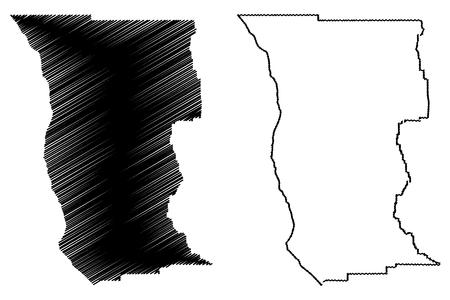 Mendocino County, California (Counties in California, United States of America,USA, U.S., US) map vector illustration, scribble sketch Mendocino map