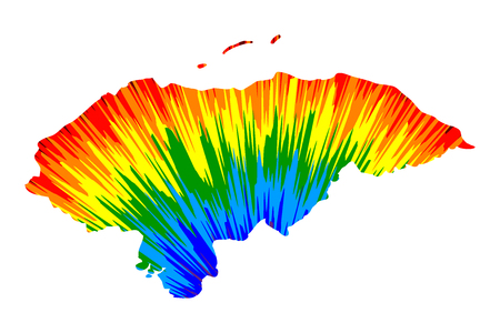 Honduras - map is designed rainbow abstract colorful pattern, Republic of Honduras map made of color explosion,