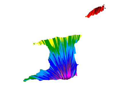 Trinidad and Tobago - map is designed rainbow abstract colorful pattern, Republic of Trinidad and Tobago map made of color explosion, Illustration