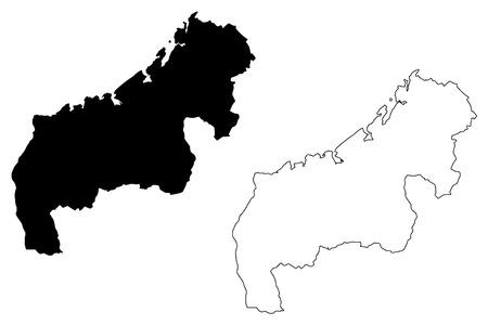 Mahajanga Province (Provinces of Madagascar, Republic of Madagascar) map vector illustration, scribble sketch Mahajanga map Stock Illustratie