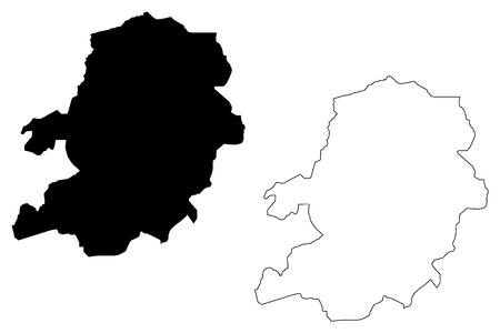 Centre Region (Regions of Cameroon, Republic of Cameroon) map vector illustration, scribble sketch Centre map