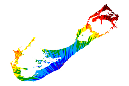 Bermuda - map is designed rainbow abstract colorful pattern, Bermuda island map made of color explosion,