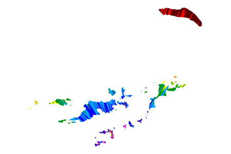 British Virgin Islands - map is designed rainbow abstract colorful pattern, Virgin Islands (BVI, British Overseas Territory) map made of color explosion, Stock Illustratie