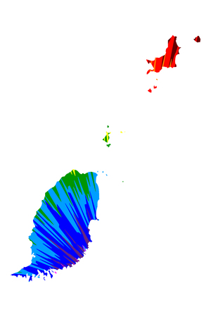 Grenada - map is designed rainbow abstract colorful pattern, Grenada island map made of color explosion, Stock Illustratie