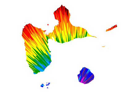 Guadeloupe - map is designed rainbow abstract colorful pattern, Guadeloupe island map made of color explosion,