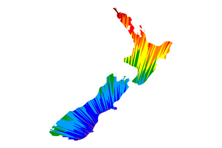 New Zealand - map is designed rainbow abstract colorful pattern, New Zealand (North and South Island) map made of color explosion, Stock Illustratie