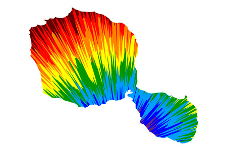 Tahiti - map is designed rainbow abstract colorful pattern, Otaheite island map made of color explosion,