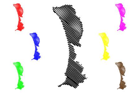 Callao Region (Republic of Peru, Regions of Peru) map vector illustration, scribble sketch El Callao map
