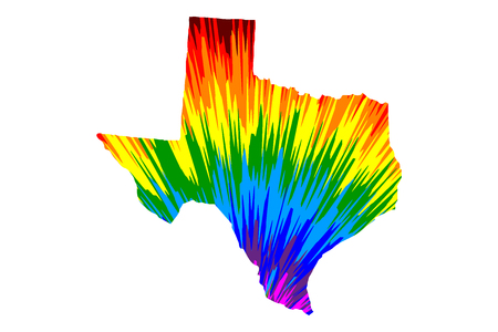 Texas (United States of America, USA, U.S., US) -  map is designed rainbow abstract colorful pattern, State of Texas map made of color explosion,