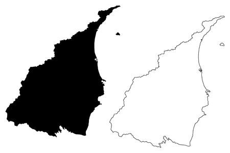 Yilan County (Administrative divisions of Taiwan, Republic of China, ROC, Counties) map vector illustration, scribble sketch I-lan, Ilan map