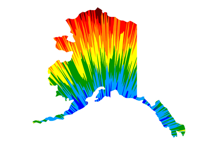 Alaska (United States of America, USA, U.S., US) - map is designed rainbow abstract colorful pattern, State of Alaska map made of color explosion,