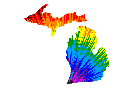 Michigan (United States of America, USA, U.S., US) - map is designed rainbow abstract colorful pattern, State of Michigan map made of color explosion, Çizim