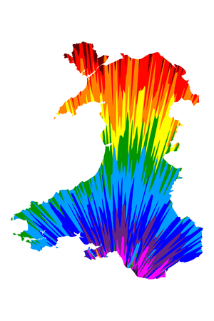 Wales - map is designed rainbow abstract colorful pattern, Wales map made of color explosion,
