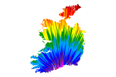 Ireland - map is designed rainbow abstract colorful pattern, Republic of Ireland map made of color explosion,