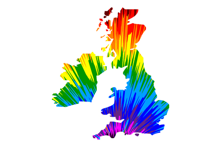British Isles - map is designed rainbow abstract colorful pattern,   United Kingdom of Great Britain and Northern Ireland map made of color explosion, Illustration