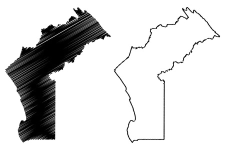 Cabinda Province (Provinces of Angola, Republic of Angola) map vector illustration, scribble sketch Kabinda (Portuguese Congo,  Tchiowa) map