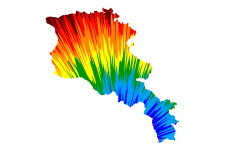 Armenia - map is designed rainbow abstract colorful pattern, Republic of Armenia map made of color explosion, Illustration