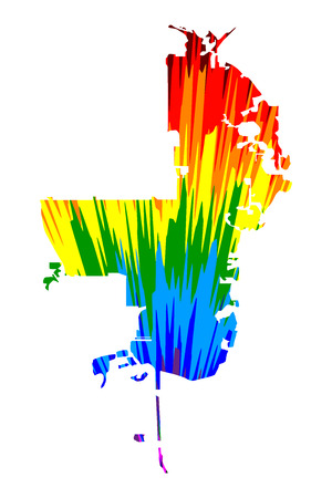 St. Petersburg city (United States of America, USA, U.S., US, United States cities, usa city)- map is designed rainbow abstract colorful pattern, City of St. Petersburg map made of color explosion,