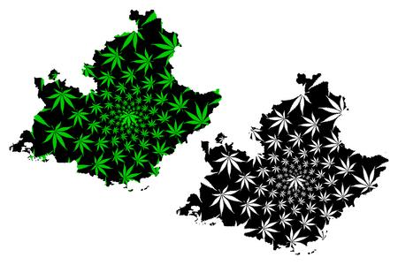 Provence-Alpes-Cote dAzur (France, administrative region, PACA) map is designed cannabis leaf green and black, Provence-Alpes-Cote d'Azur map made of marijuana (marihuana,THC) foliage, Illustration
