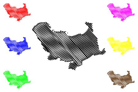 Skikda Province (Provinces of Algeria, Peoples Democratic Republic of Algeria) map vector illustration, scribble sketch Skikda map