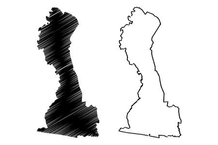 Comoe District (Ivory Coast, Republic of Cote dIvoire) map vector illustration, scribble sketch Comoe map