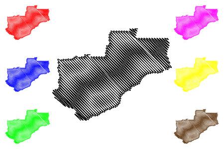 Lunda Norte Province (Provinces of Angola, Republic of Angola) map vector illustration, scribble sketch Lunda Norte map
