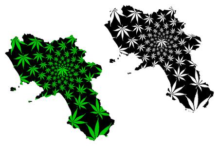 Campania (Autonomous region of Italy, Italian Republic) map is designed cannabis leaf green and black, Campania map made of marijuana (marihuana,THC) foliage, Illustration