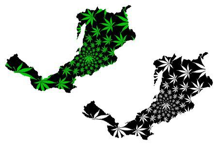 Buryatia (Russia, Subjects of the Russian Federation, Republics of Russia) map is designed cannabis leaf green and black, Republic of Buryatia map made of marijuana (marihuana,THC) foliage,