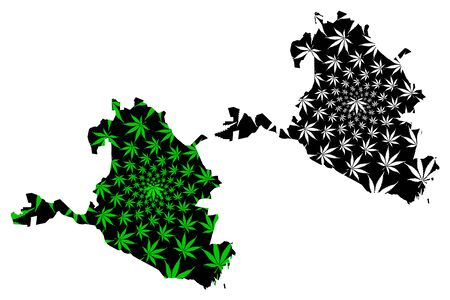 Kalmykia (Russia, Subjects of the Russian Federation, Republics of Russia) map is designed cannabis leaf green and black, Republic of Kalmykia map made of marijuana (marihuana,THC) foliage, Illustration